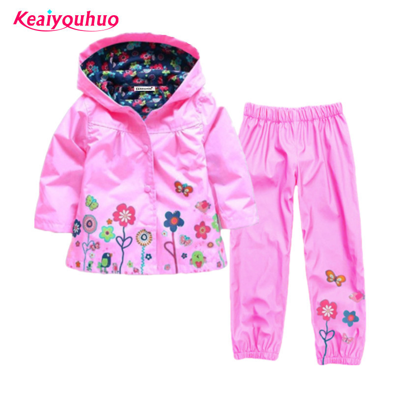 Girls Clothing Raincoat Sets Autumn Girls Clothes Set Hoodie Jackets Pants Kids Clothes Sport Suit Children Waterproof Coat