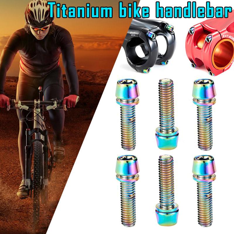 Stem Fixing Bolts Titanium Ti M5*18//20mm MTB Mountain Road Screws 6PCS W//Washers