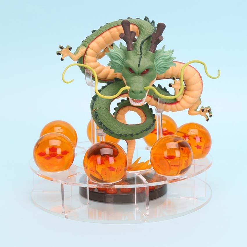NO BOX 7 BOLAS 3,5 CM+ESTANTE DRAGON BALL//SET DRAGON SHENRON GOLD /& GREEN