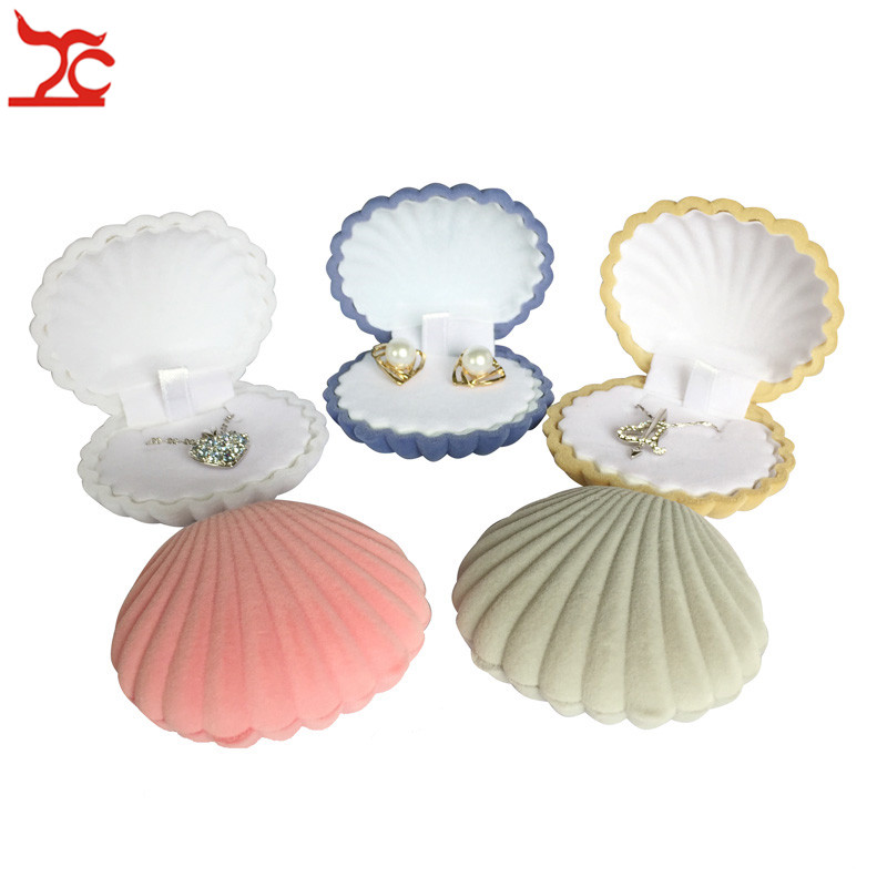 Sale Lovely Shell Shape Velvet Pendant Earring Case Engagement Wedding Party Necklace Jewelry Display Storage Gift Box