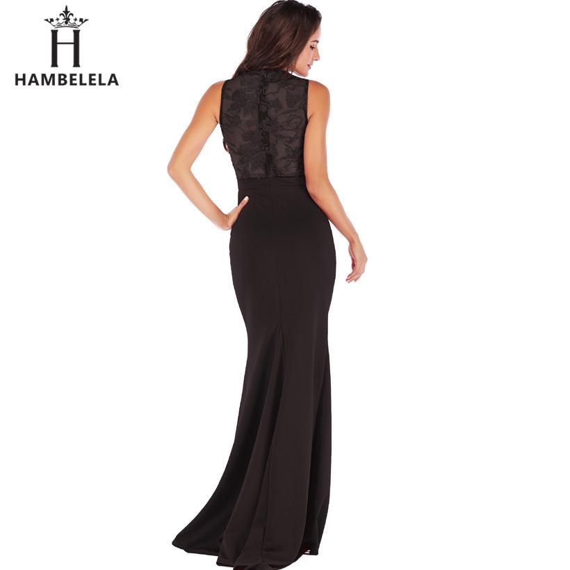 HAMBELELA Long Maxi Backless 2019 Women Dress Summer Evening Party Dresses Sexy O-Neck Elegant Floral Lace Dress Vestidos Longo (2)