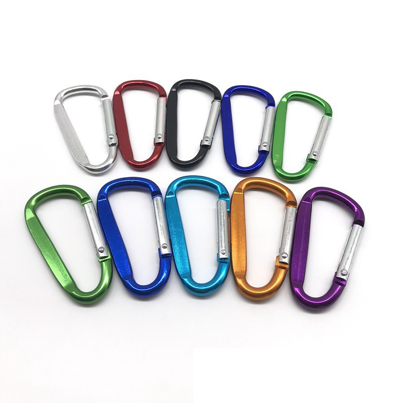10pcs Quick Release Carabiner Keychain Keyring Clip D Ring Locking Snap Hook