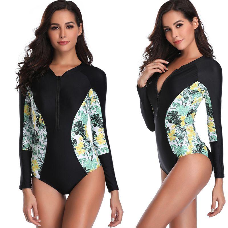 Women/'s Rash Guard Top Manica Lunga nuotare costumi da bagno stampato Protezione Solare UV