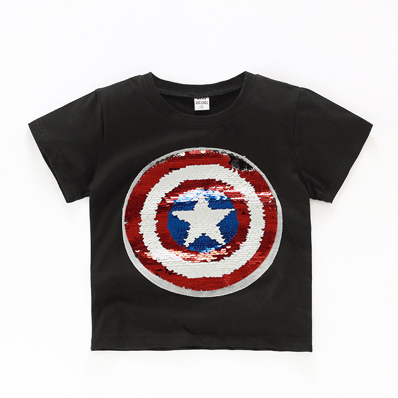 Summer Girls Tee Boys T Shirt Baby Glitter Tee Kids Tops Magic Discoloration Spiderman Captain Heart Switchable Sequin 2-12 Yrs Y190518