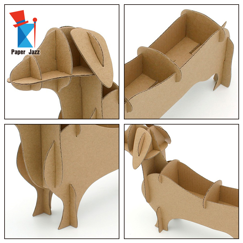 Diy 3D Handmade Home Decor Storage Box Cardboard DOG puzzle cute animal 3d puzzle for kids
