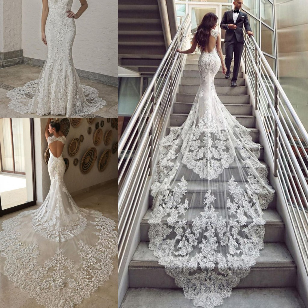 Discount Lace Long Tail Wedding Dresses Long Sleeve Lace Tail