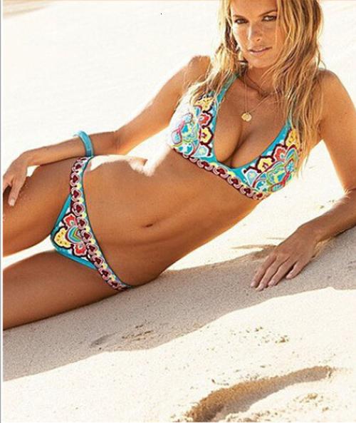 Bikinis Brésilien Imprimer Swimsuits Floral femmes Push Up Bikini Maillots de bain Maillots de bain Taille Plus Femme