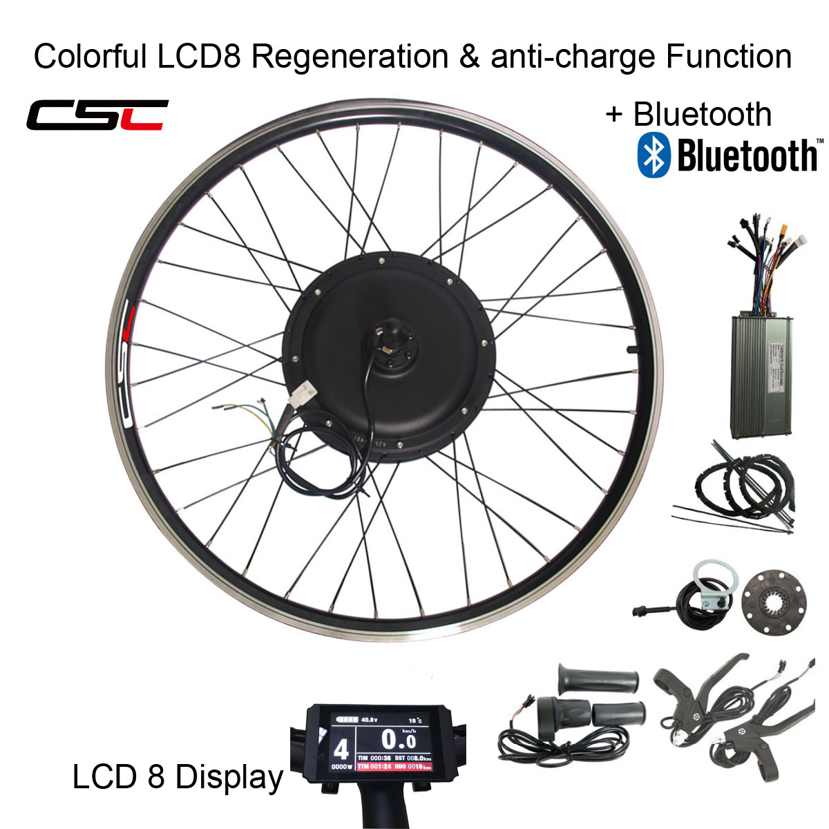 1000W el/éctrico E Kit de conversi/ón de la bici de 26 Sensor de velocidad del kit de la manivela de la herramienta de la rueda delantera del motor Eje de la bicicleta 48V aleaci/ón de aluminio