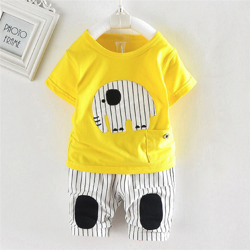 2PCS Baby Boy Sets Toddler Infant Baby Boy Short Sleeve Cartoon Elephant T-shirt Tops+Striped Pants Sets Baby Boy Clothes M8Y18 (6)