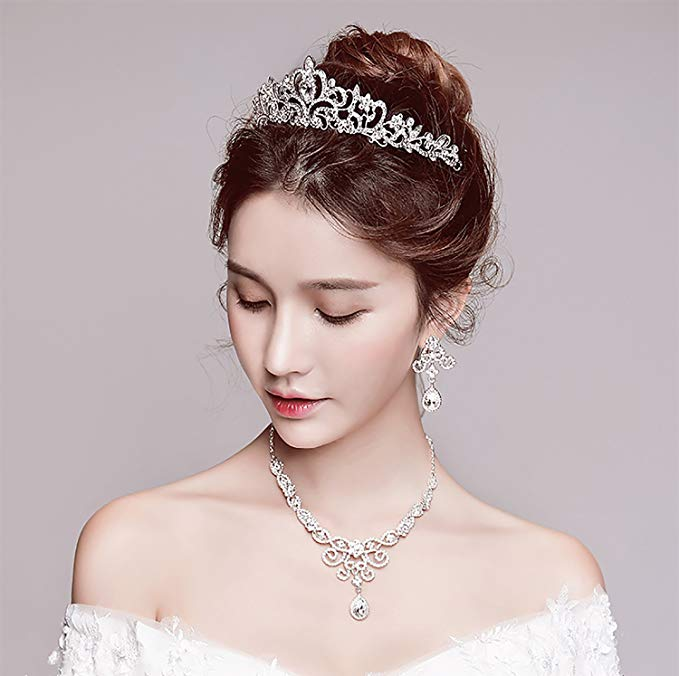 Silver Rhinestone Crystal Necklace Earrings & Crown Set Wedding Jewelry Sets Bridal Necklace Tiara (1)