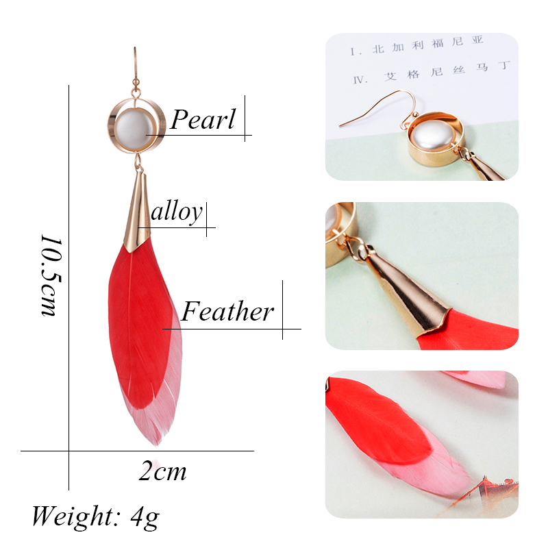 Lovely Nature Feather Dangle Hanging Drop Earrings with Natural Stone for Women Ladies Girls Party Holiday Jewelry Ornaments haif