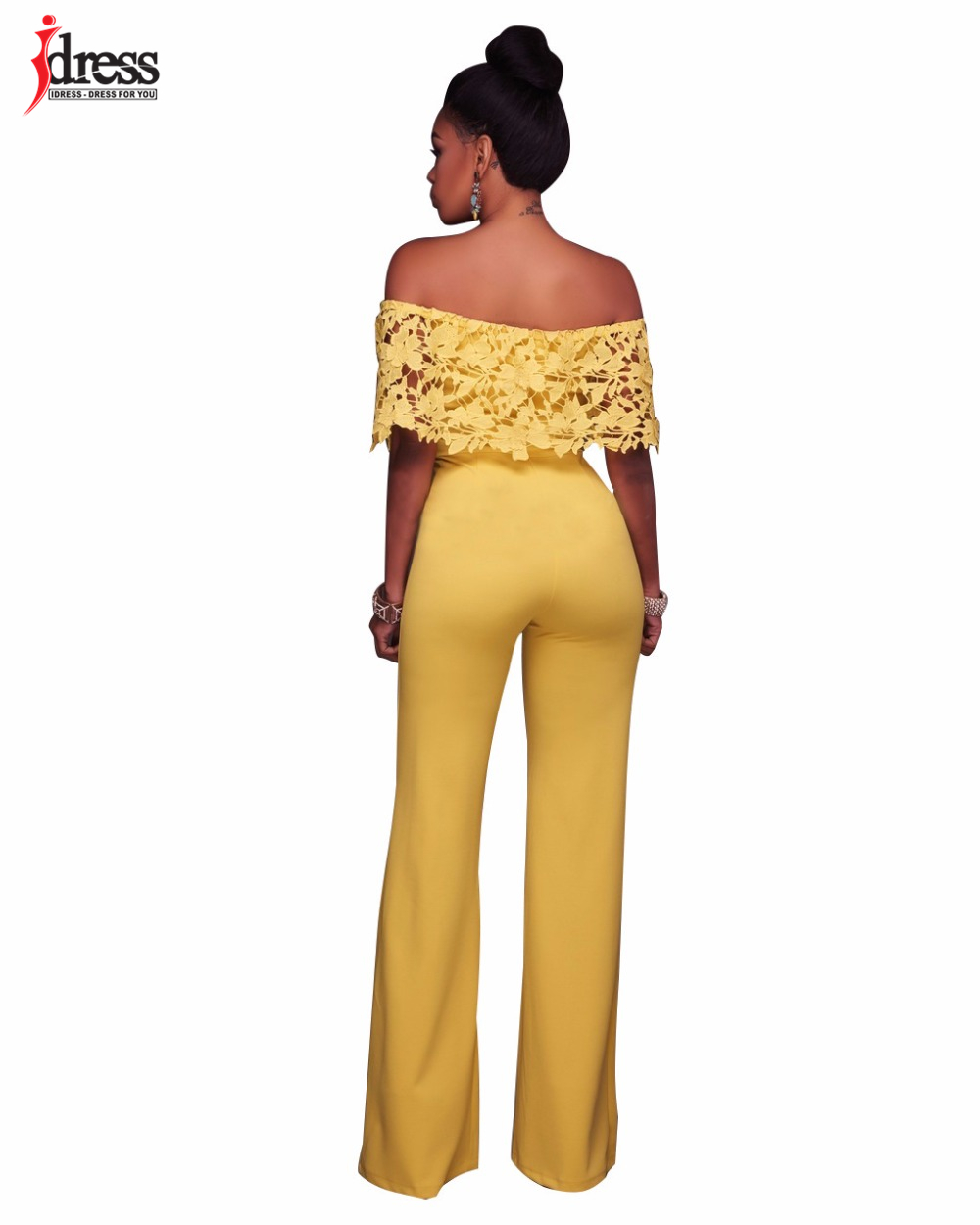 IDress Lace Crochet Rompers Women Jumpsuit Sexy Strapless Bodycon Jumpsuit Wide Leg Black White Yellow Long Pant Romper Overalls (2)