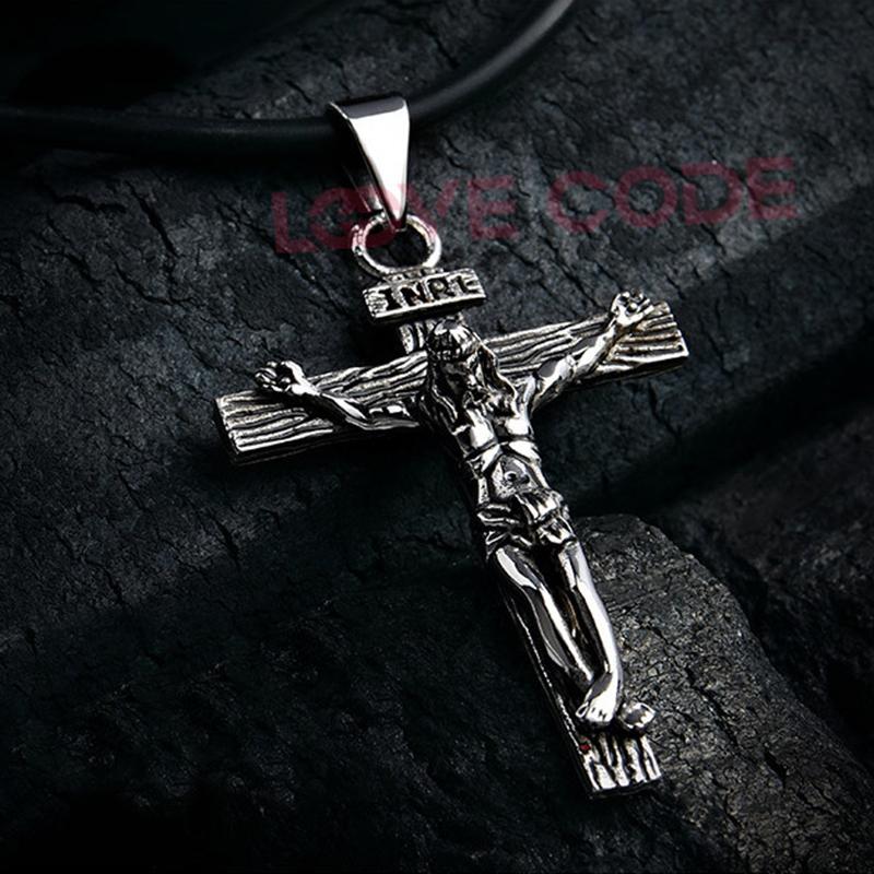 Cimya Stainless Steel Mens Cross Pendant Jesus Necklace Gift for Men Birthday Gift