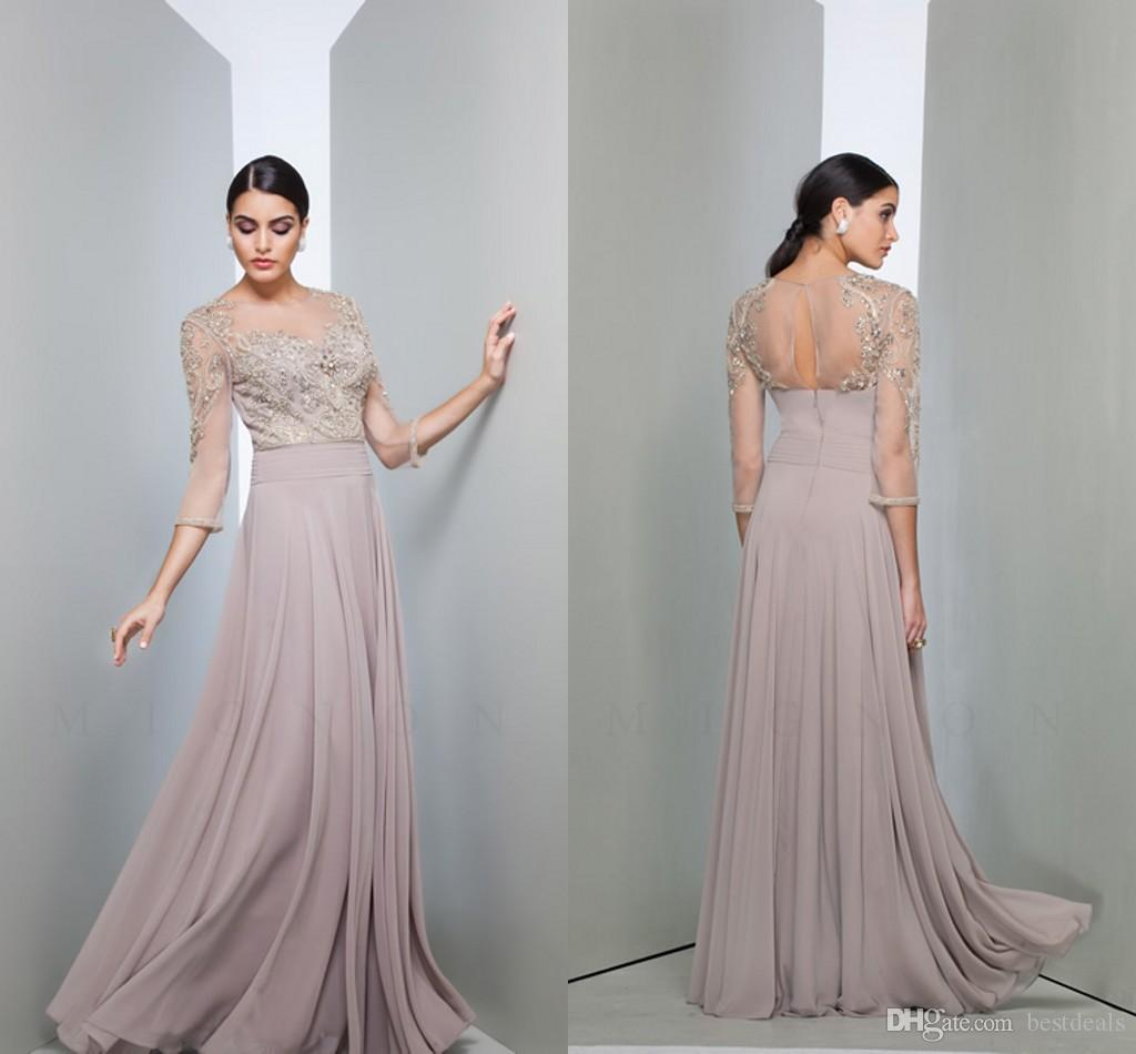 3/4 Long Sleeve Lace Mother of the Bride Dresses 2016 Illusion Jewel Neck Beads Appliques Long Chiffon Wedding Party Gowns Arabic Formal