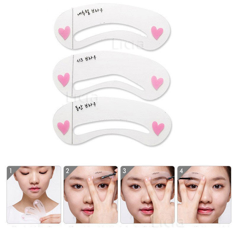 Reusable New Eyebrow Template Stencil Tool Makeup Eye Brow Template Shaper Make Up Tool Eye Brow Guide Template Diy Beauty