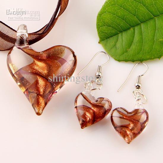 Scroll heart glitter lampwork pendant venetian murano glass pendants necklaces and earrings sets cheap china fashion jewelry Mus003