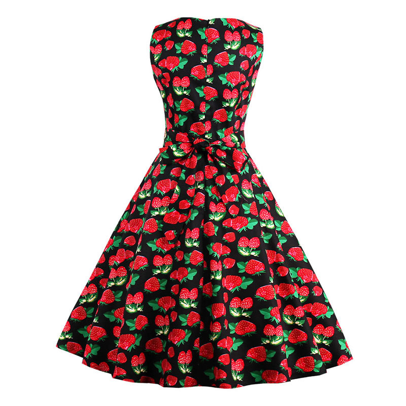 Kostlish 9 Style Print Summer Dress Women 2017 Sleeveless Swing 1950s Hepburn Vintage Tunic Dress Elegant Party Dresses Sundress (25)