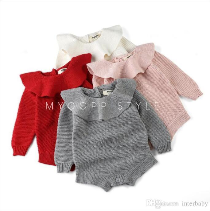 UK Princess Kids Baby Girl Autumn Winter Clothes Knitted Romper Jumpsuit Outfit
