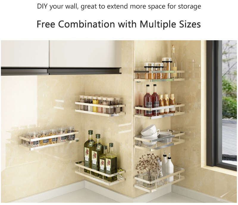 2020 Baffect Kitchen Shelf For Storage Organizer Wall Shelf Spice Rack Punch Free Stainless Steel Storage Shelves Rack For Kitchen Y200429 From Shanye10 18 24 Dhgate Com