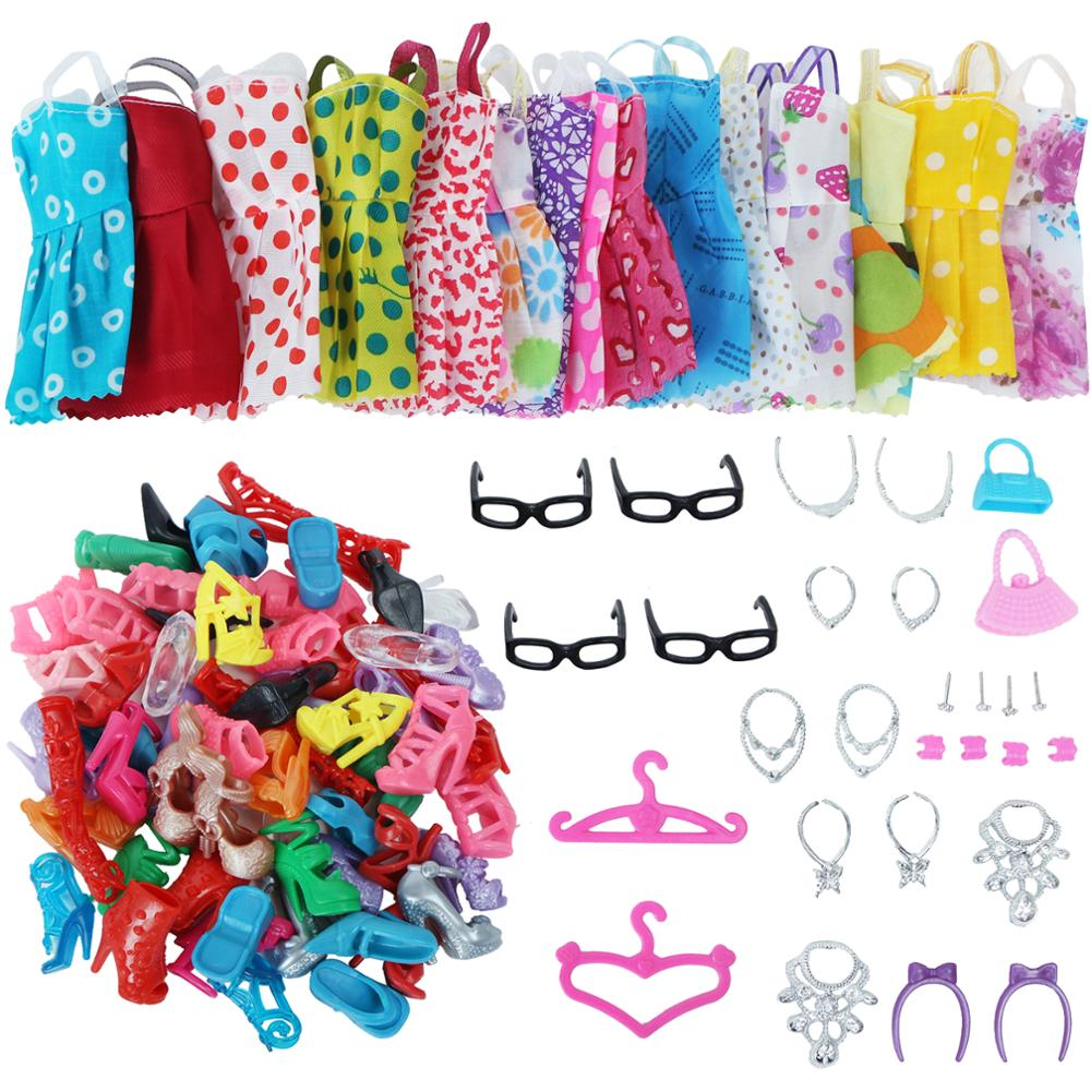 32 Pcs set Doll Accessories Shoes Bag Glass Necklace For Barbie Dolls xmas gift
