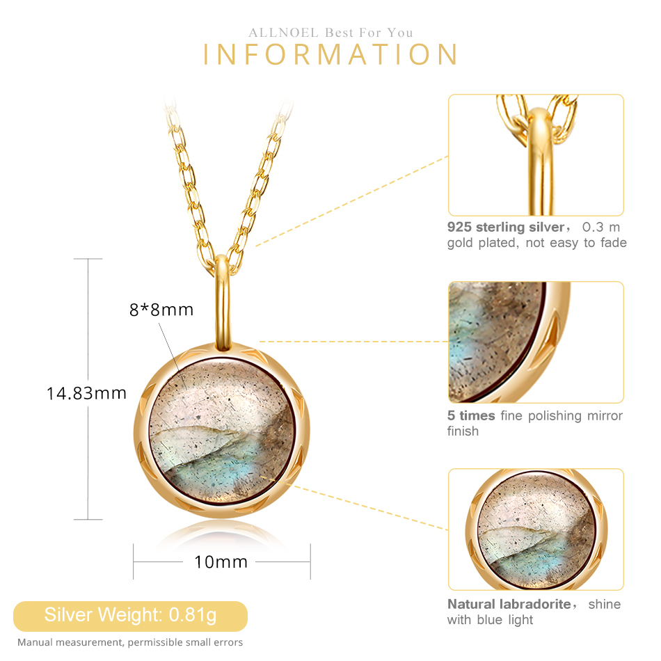 ALLNOEL Real Labradorite Pendants Necklace For Women Solid 925 Sterling Silver Round Gemstone Jewerly Engagement Wedding New (8)
