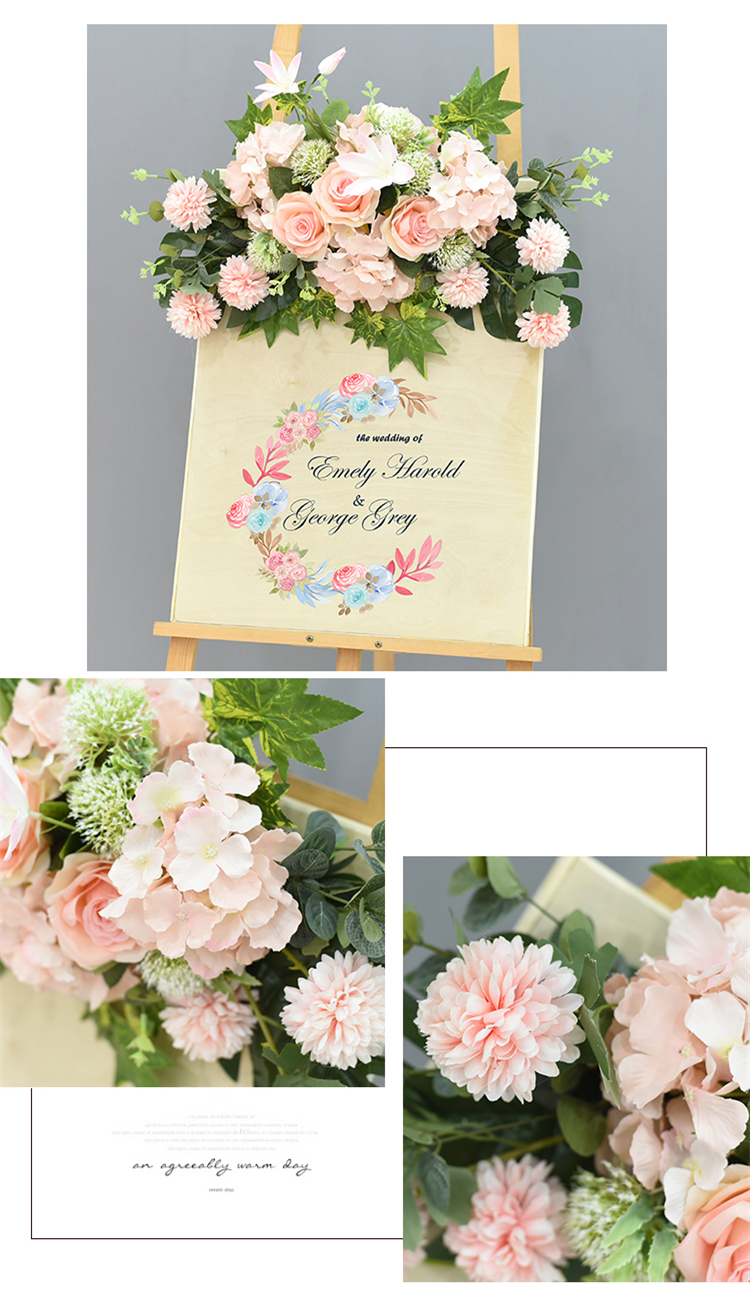 JAROWN Wedding Flower Row Welcome Sign Simulation Floral Hotel Creative Guide Decorations Photography Props Home Door Flower (6)