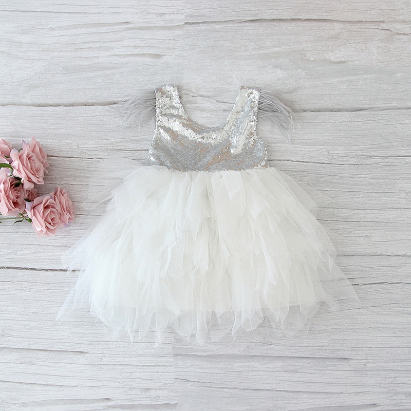 69-5-Feather Sequins Tiered Girls Dress