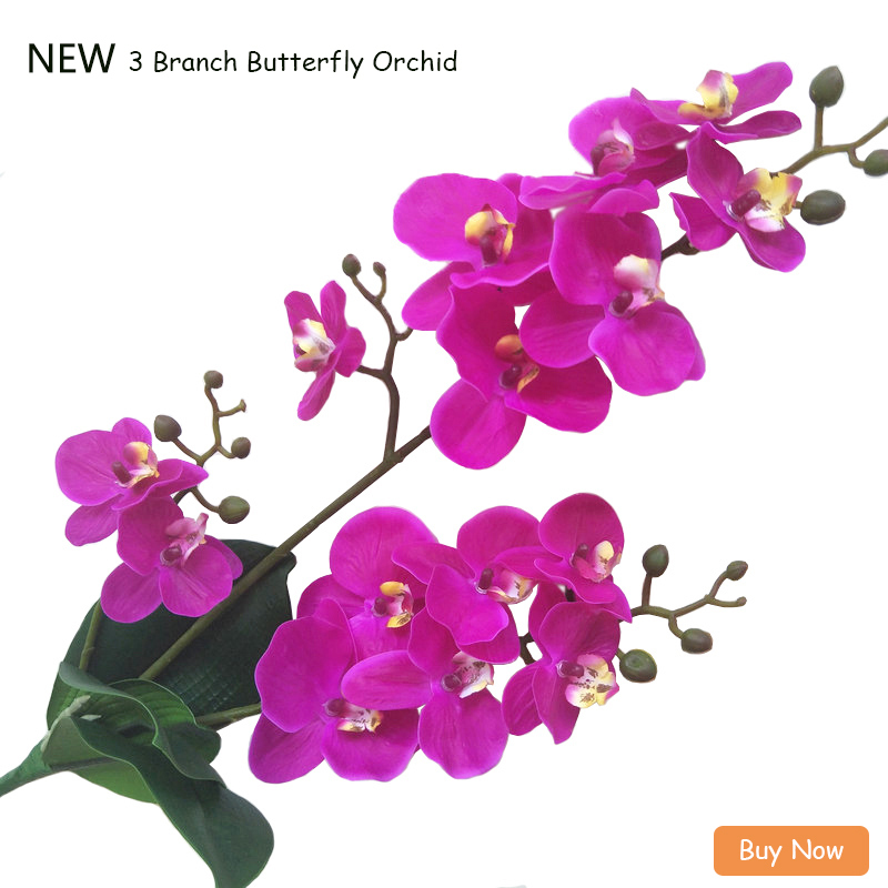 JAROWN Artificial Real Touch Latex Butterfly Orchid Flores 3 Branch 15 Head Band Leaf Fake Flower Wedding Decor Home Decorations (1)