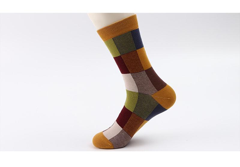 5PairLot Men\`S Socks Combed Cotton Autumn Winter Fashion Colorful Square Socks Men Harajuku Personality Breathable Crew Socks (12)