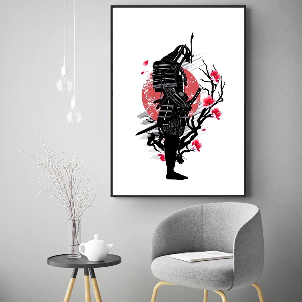Salon Rouge Blanc Noir noir-blanc-rouge guerrier japonais peinture fleur samouraï mur art toile  affiche pour salon décor À la maison