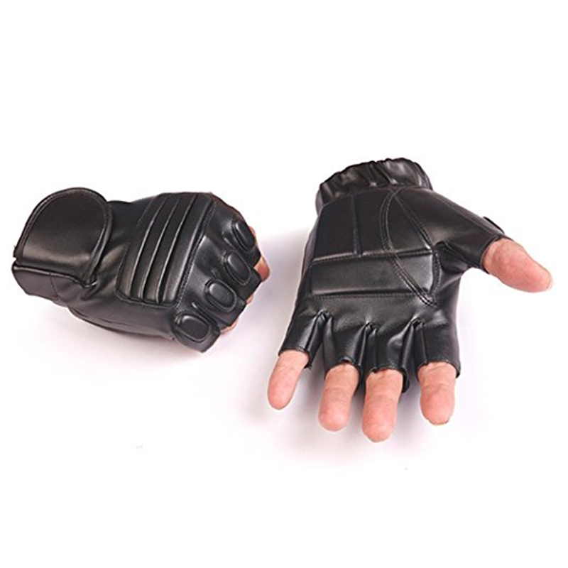 Biker Leather Fingerless Glove Driving Cycling Fishing Punk Gym Goth Motorcycle