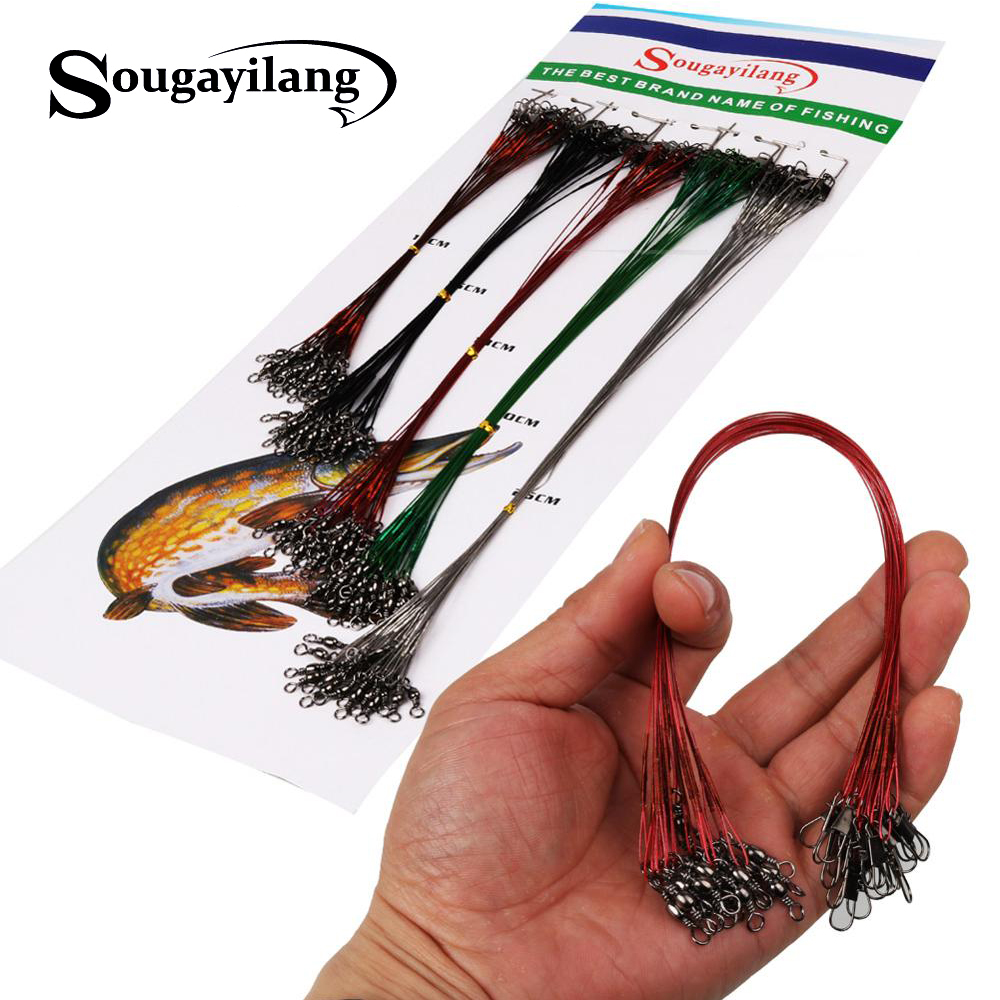 100pcs Fishing Leader Line Lure Trace Stainless Steel Wire Leader Spinner Swivel