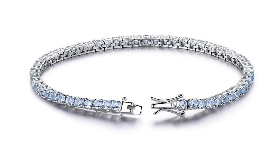 925 Sterling Silver sky blue topaz bracelet for women (1)