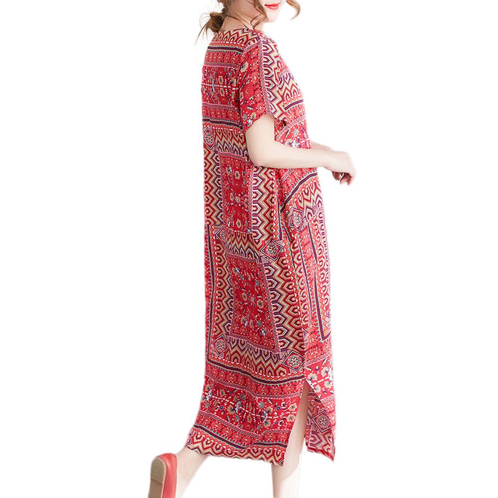 2018 Nuevo estampado vintage vestido suelto maxi O cuello manga corta bolsillo lateral vestido de verano 2018 Slit Baggy Plus Size vestido largo rojo