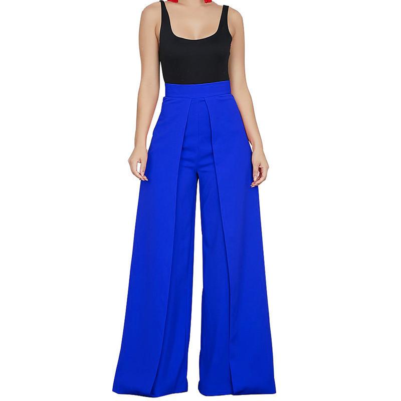 Chic High Waist Zipper Palazzo For Women Casual Loose Wide Leg Pants Ladies Elegant Long Culottes Trousers Pantalon Femme C19041701