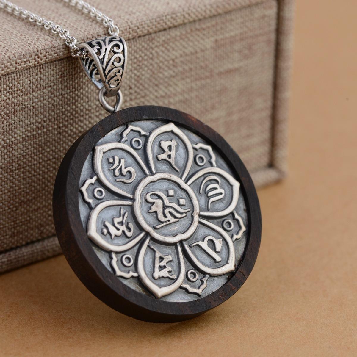 Real 925 sterling silver sandalo pendente mantra sei parole intagliato om ciondolo preghiera gioielli buddisti tibetani J190711