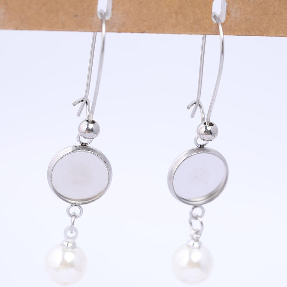 HOT 10pcs Trays Blank Drop Earring Hook Base Settings for DIY Jewelry Making