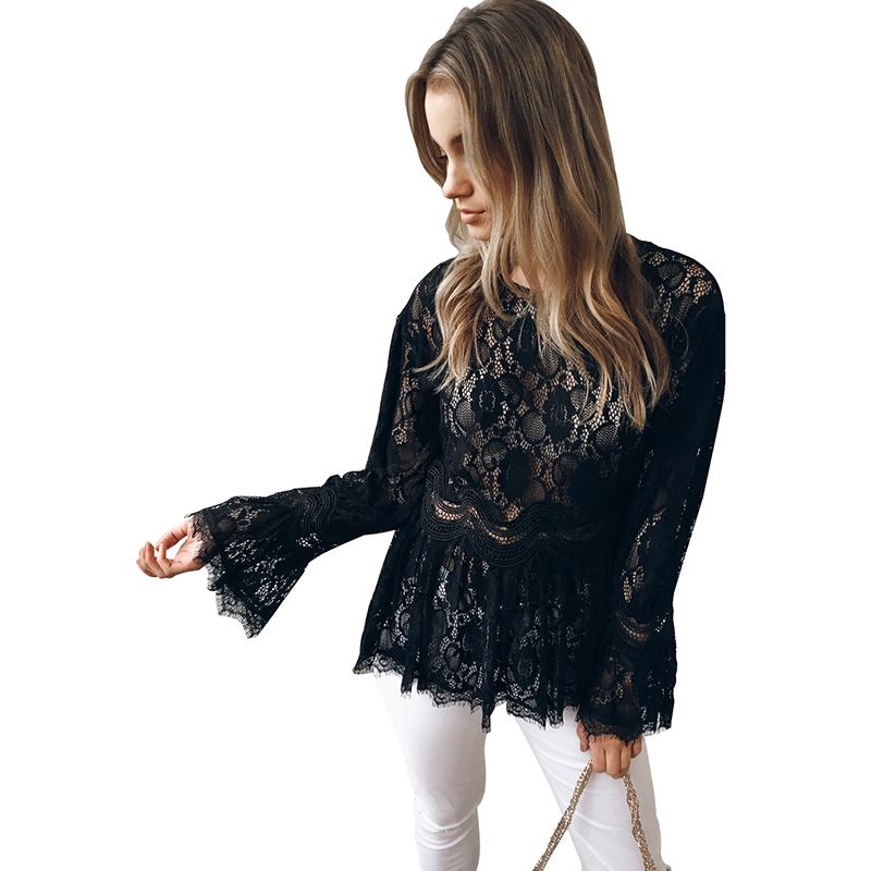 Sexy Women Semi-sheer Lace Blouse Elegant Ladies Flare Long Sleeve O-Neck Slim Fit Tunic Top Pleated Hem Elegant Shirt Tops 2019
