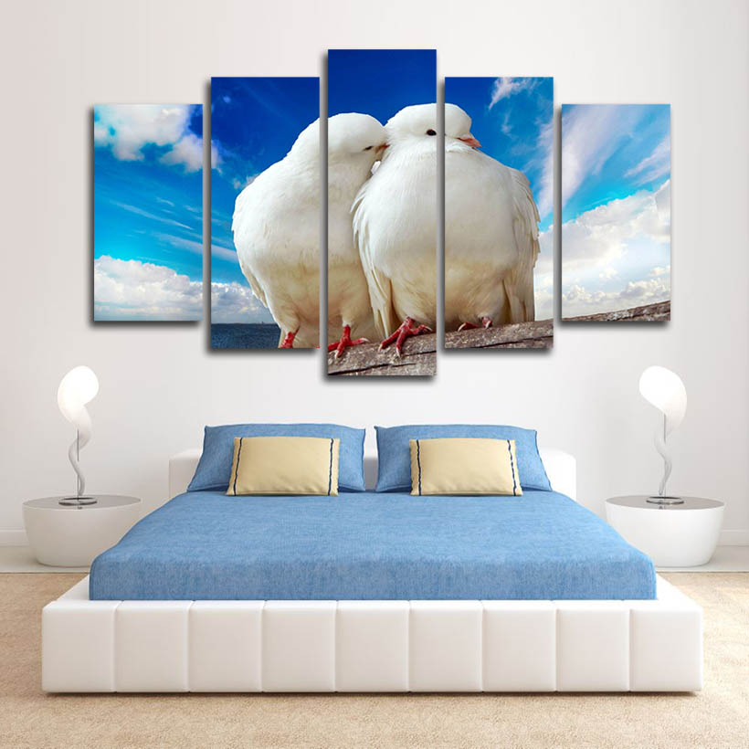 BIRD ART PRINT Red Bird and Bluebird Set Swan Papel