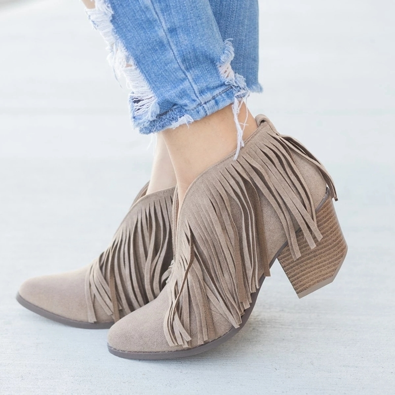 Fashion Chic Women Shoes Retro Fringe Suede High Heel Ankle Boots Female Mid Heels Casual Mujer Booties Feminina Plus Size 53