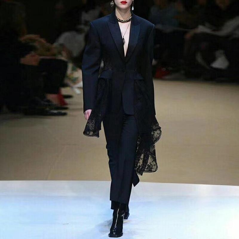 Twotwinstyle Lace Blazer Feminino Patchwork Oco Out Cintura Alta Casacos Assimétricos Tamanho Grande Das Mulheres 2019 Outono Roupas Sexy Y190826