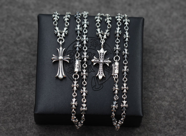 S925 sterling silver pendant necklace retro personality punk style cross modeling couple long chain sweater chain send a gift