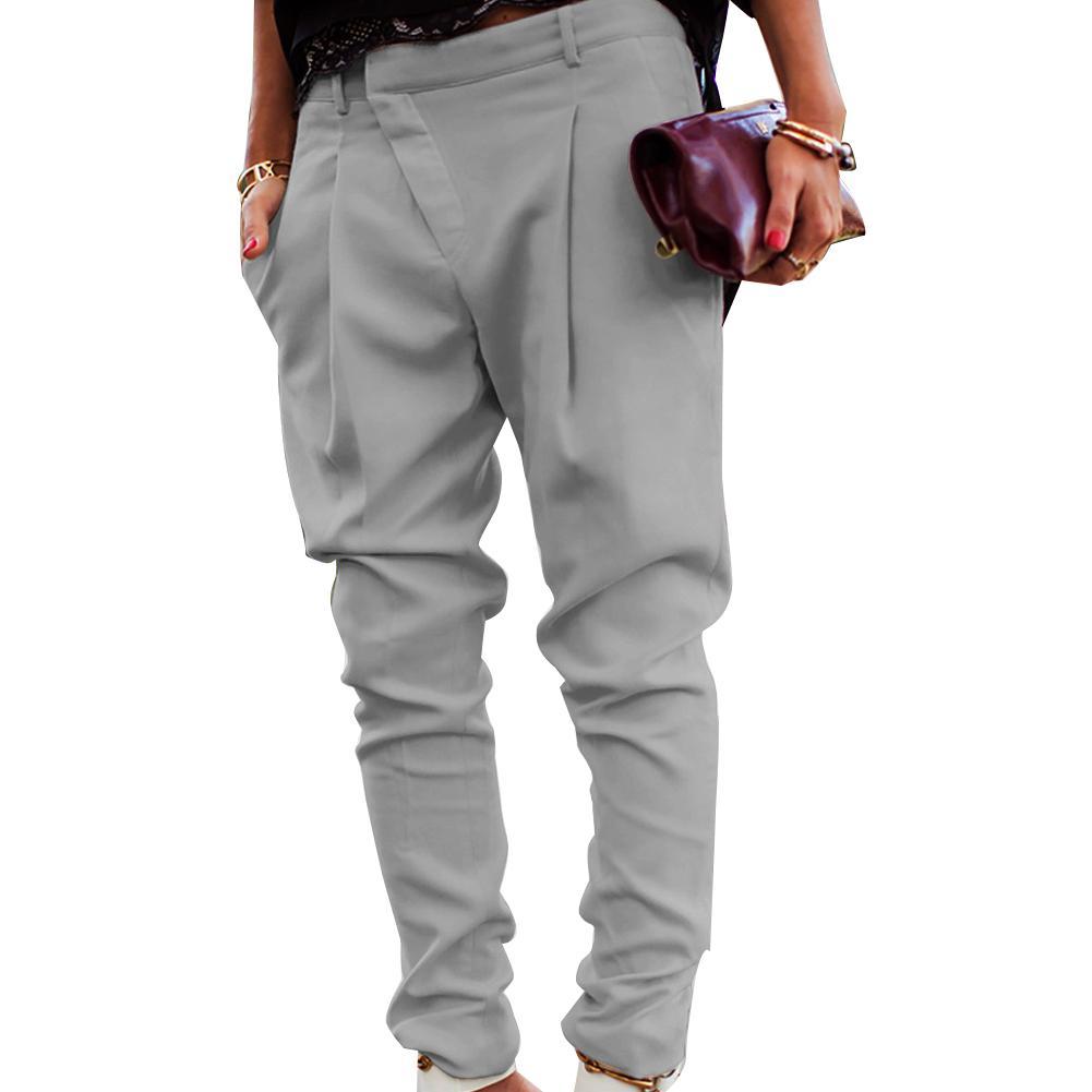 Donna Mezza Vita Elasticizzata Stretch Lavoro Ufficio Pantaloni Tasche Pantaloni