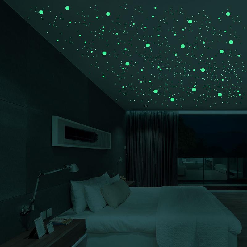 Stella rotonda punto luminoso Glow scuro casa soffitto del fumetto DIY Decor interruttore decorazione Sticker Decor Soggiorno camera bambini