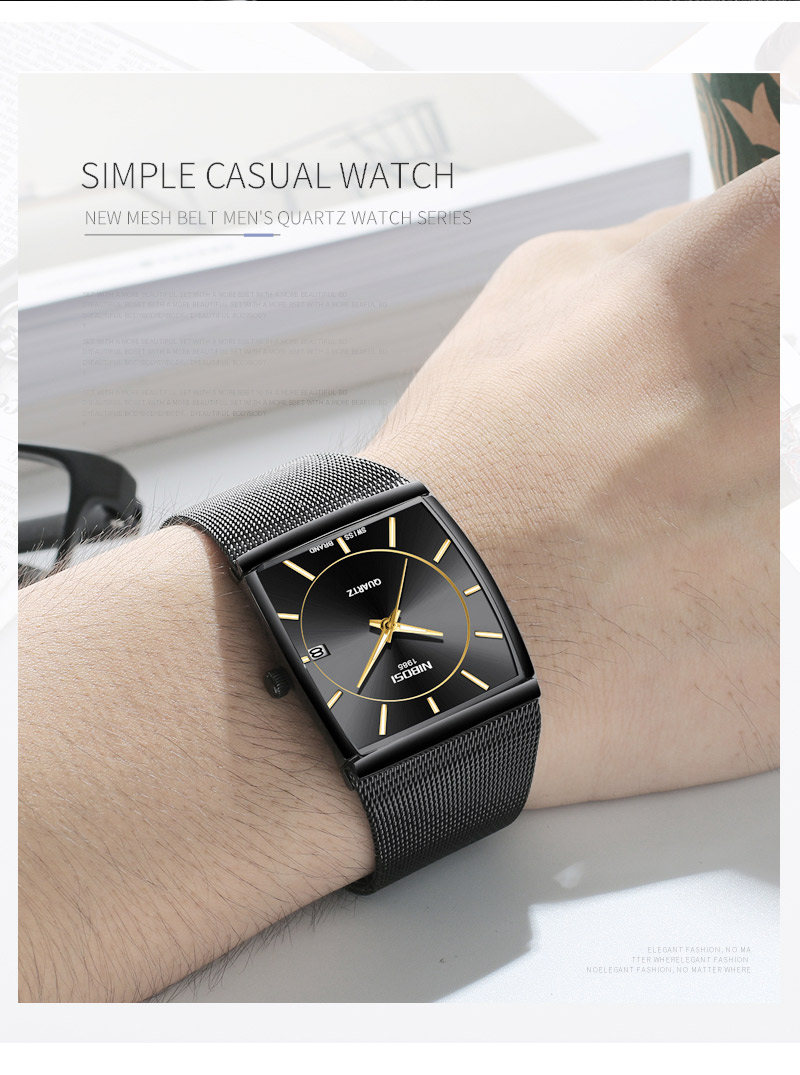 Factory Direct Sales Luxury Luminous Men`s Waterproof Watch NIBOSI Quartz European Style Unique New Square Stainless Steel Watch (3)