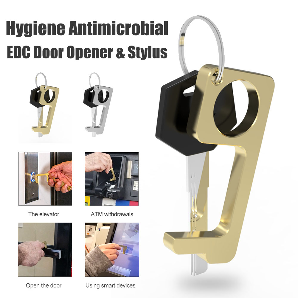 Hygiene Hand No-Touch Brass Key Tool No-Touch Elevator Press Stick Button Pusher Tool 4 Pack Brass No-Touch Door Opener Safety Protection Isolation Brass Key