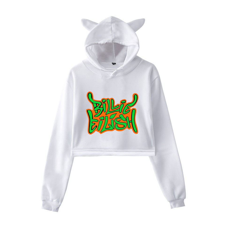 Fashion Sweatshirt Sweater Gray Personality Girl Cat Ears Umbilical Hoodie