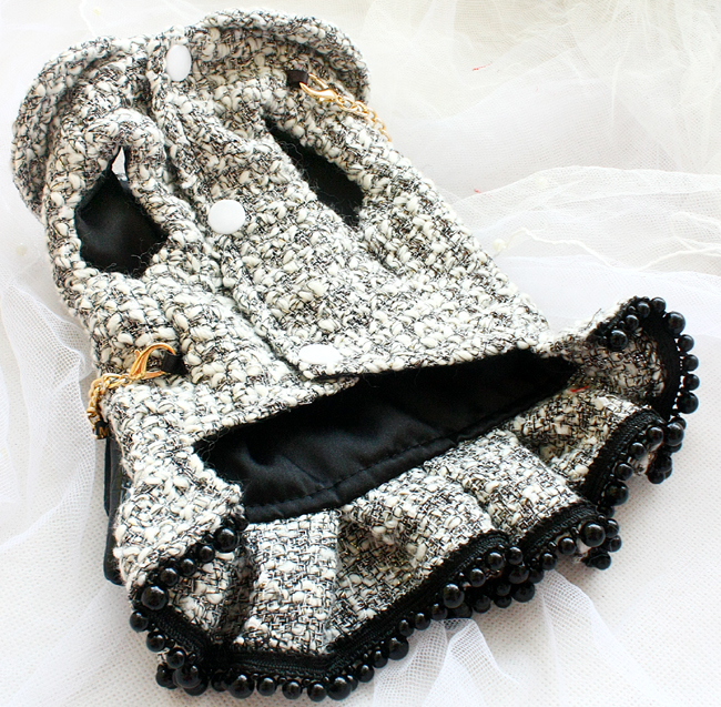 handmade dog clothes vintage classic style gray tweed imitation crocodile leather bag dog dresses autumn winter spring