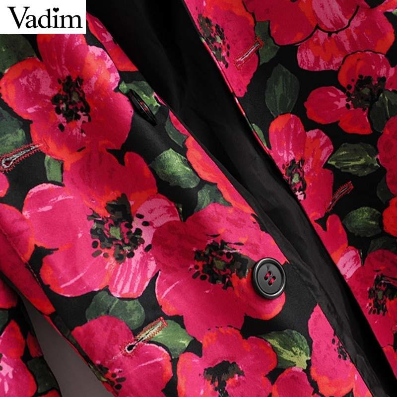 Vadim Women Floral Print Blazer Single Button Pockets Sashes Design Female Office Wear Jacket Ladies Outerwear Coat Tops Ca526 Y190826
