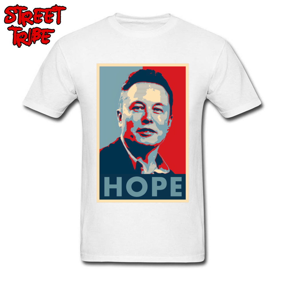 Elon Musk Hope Poster 1459 Printed On Thanksgiving Day Pure Cotton Crew Neck Mens Tops & Tees T-shirts Short Sleeve Top T-shirts Elon Musk Hope Poster 1459 white